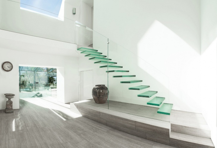 floating glass stair design