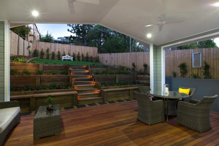 garden wood stair design