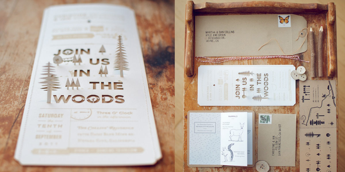 Wooden Look Wedding Invitation