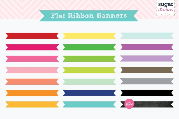 flat ribbon banner design