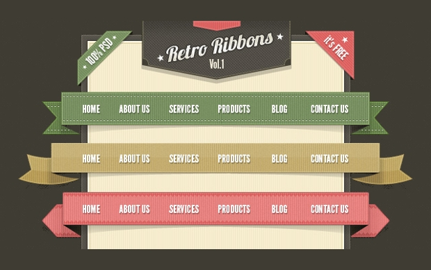 retro web ribbon design