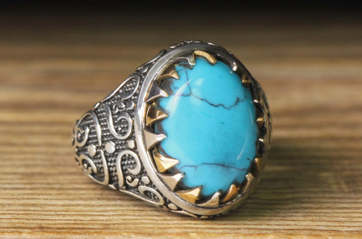 mens silver turquoise jewelry design