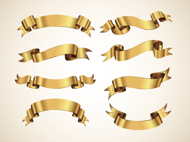 golden decorative ribbon design