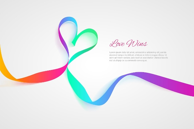 colorful heart shaped ribbon design