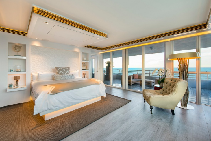 modern beach house bedroom interior