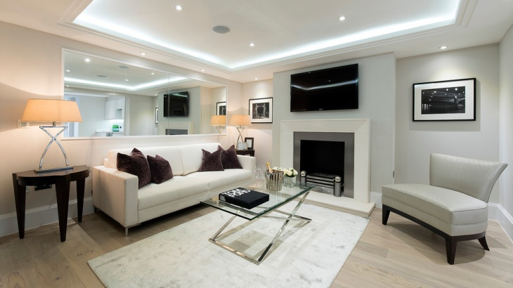 living room recessed lighting idea