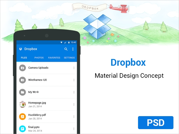 drop-box-material-app-design