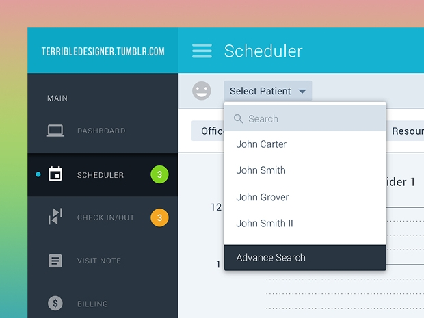 Schedular Web App Design