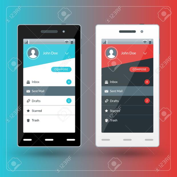 Flat Mobile Email App Design