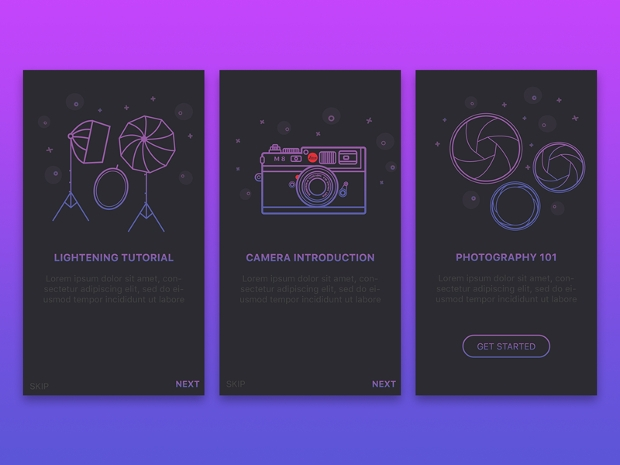 Photograpghy Boarding Screen App Design