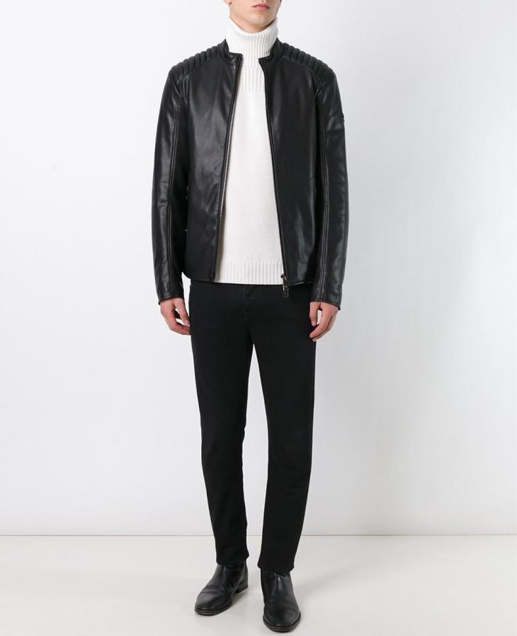 mens armani faux leather jacket