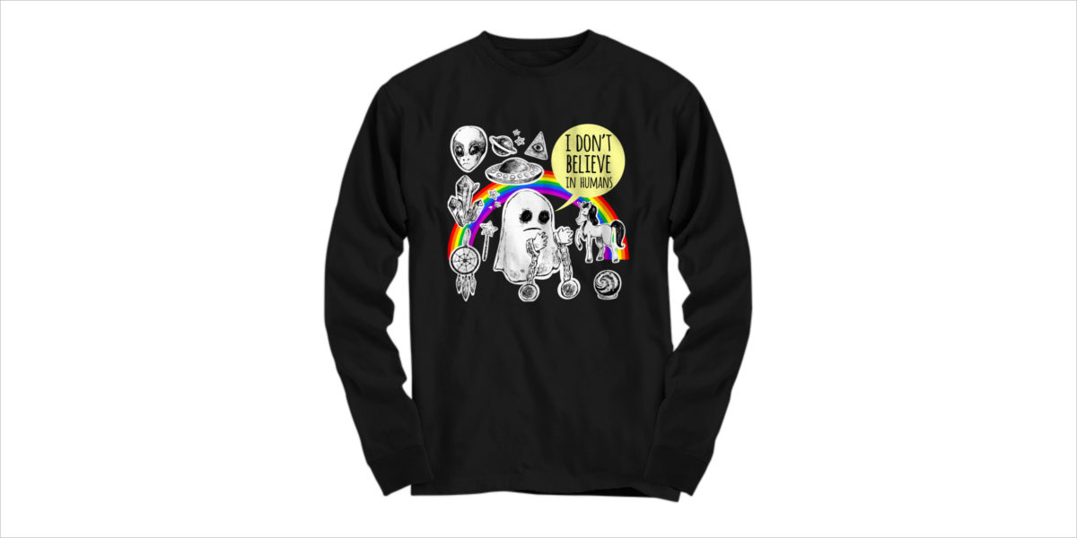 i don't believe in humans t shirts
