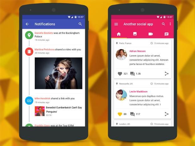 Social Media Material App Design