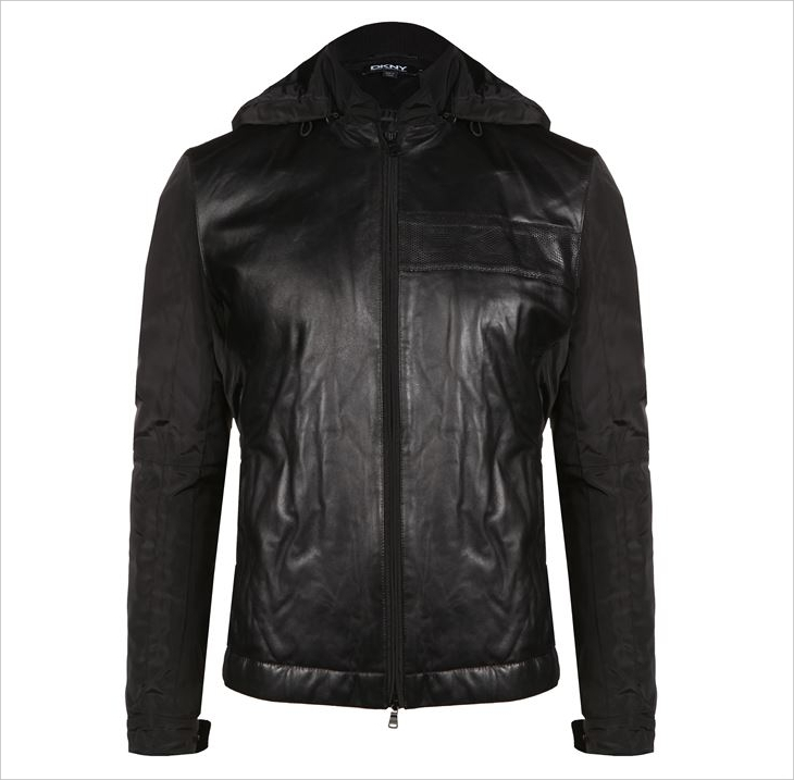 dkny mens hooded leather jacket