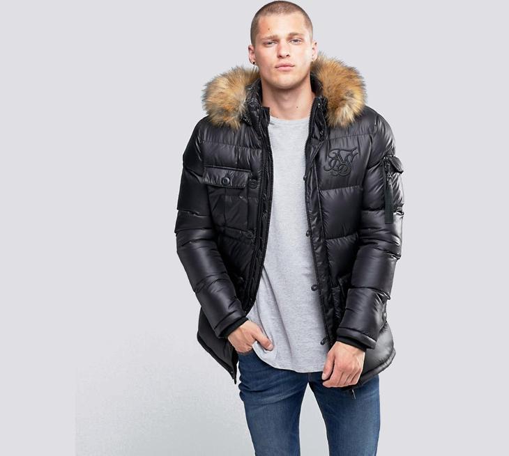 asos shiny puffer jacket for men