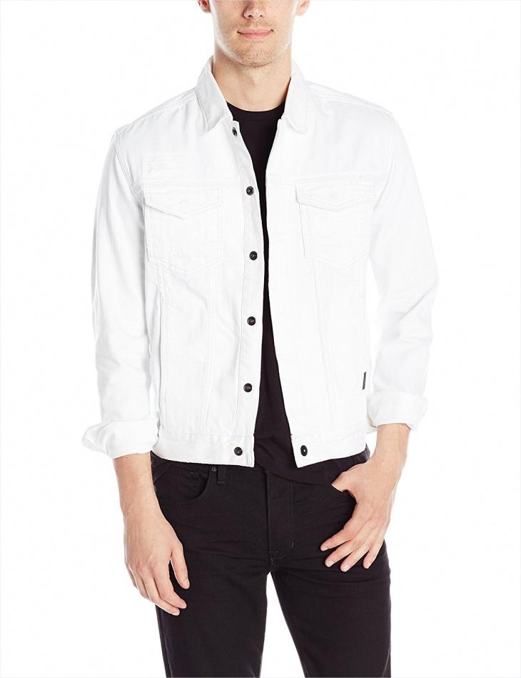 calvin klein mens white jean jacket