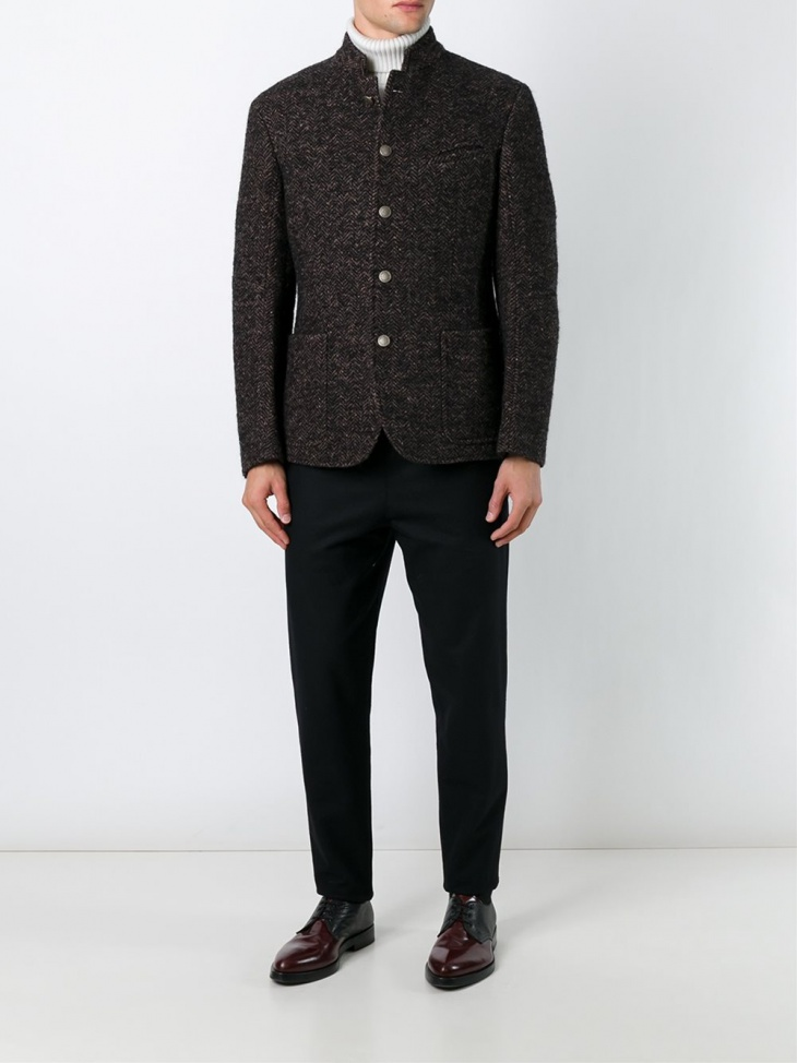 massimo alba brown tweed jacket for men