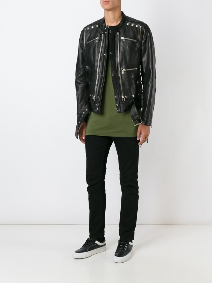 mens leather studded jacket