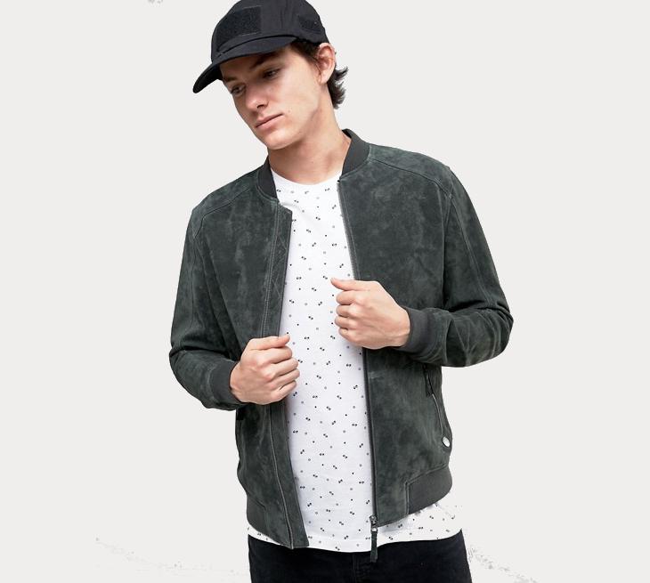 suede bomber jacket for men