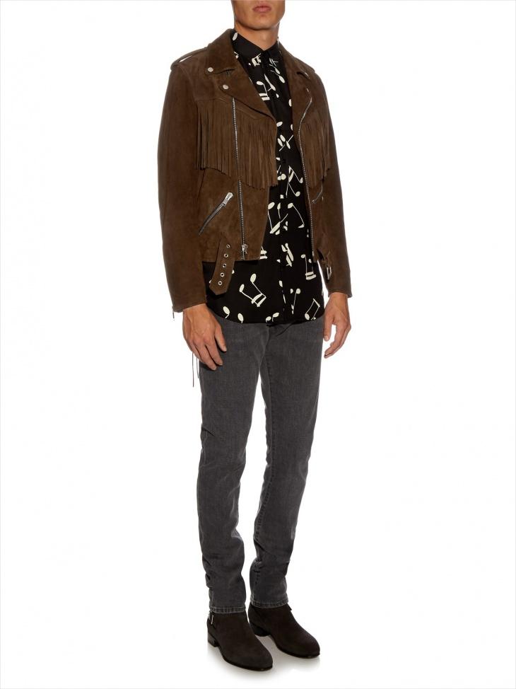 mens leather fringe jacket