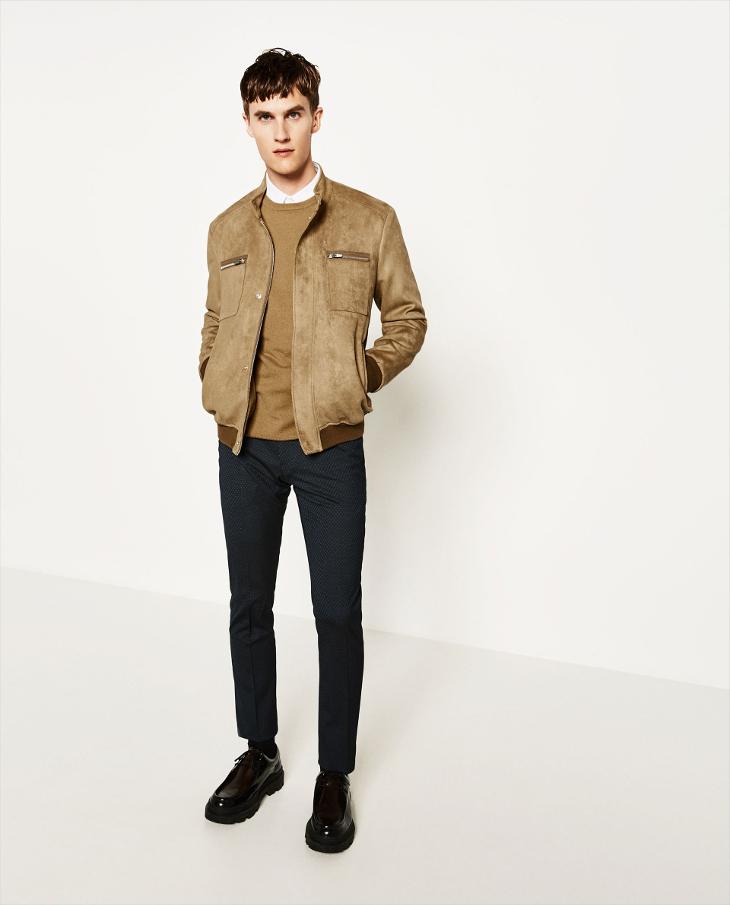 zara mens brown biker jacket1