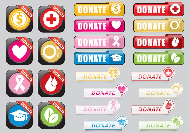 vector donation web buttons
