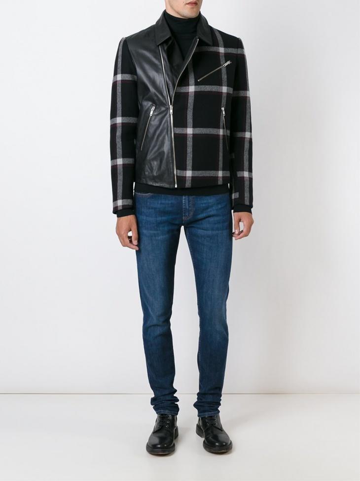 panelled plaid jacket design for men