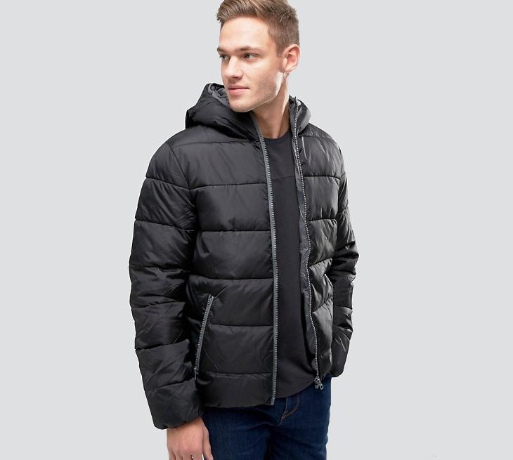 asos mens black padded jacket