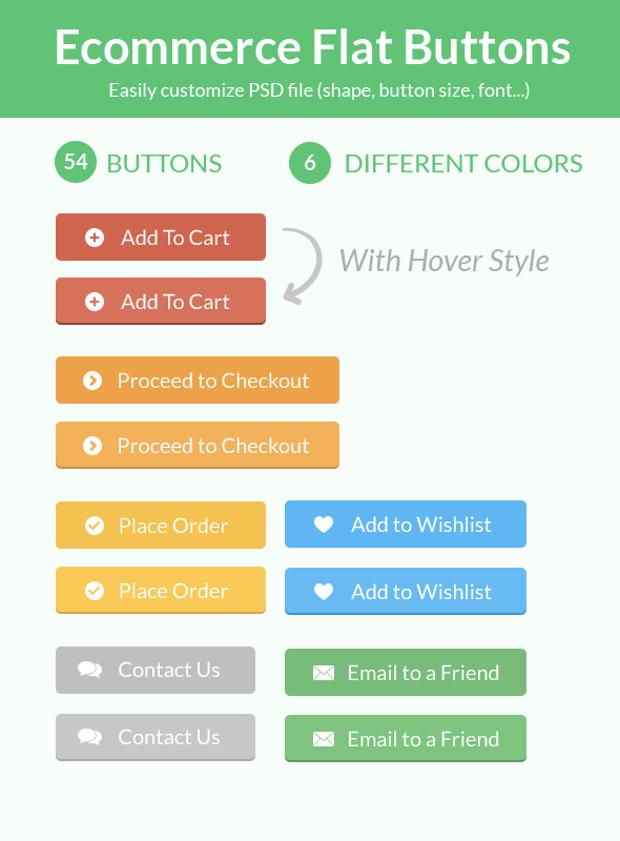 flat e commerce buttons