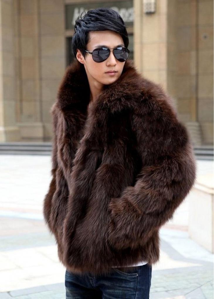 mens faux fur jacket