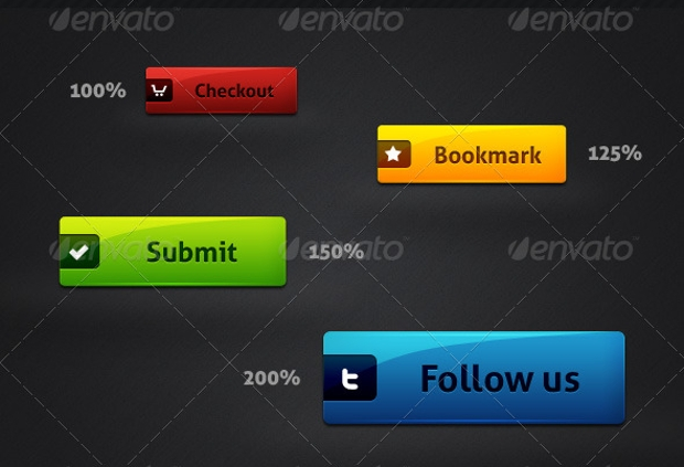 photoshop glossy web buttons
