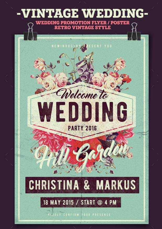 Vintage Wedding Poster Template