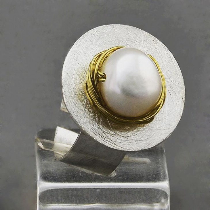 Pearl Silver Ring for Men