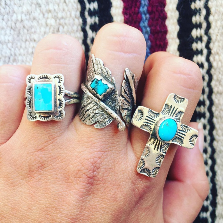 Mens Square Turquoise Ring