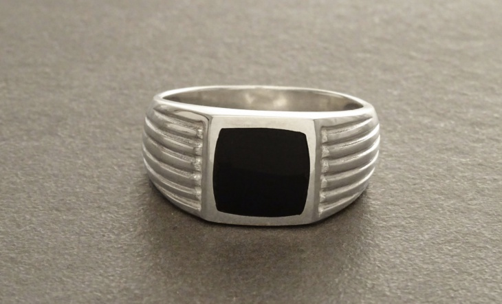 Mens Silver Ring with Black Stone