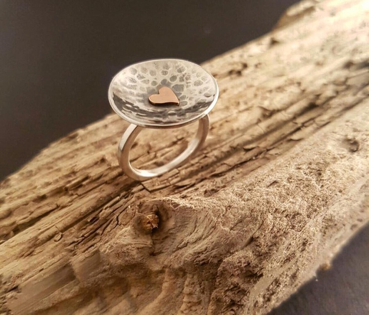 Mens Hammered Silver Ring