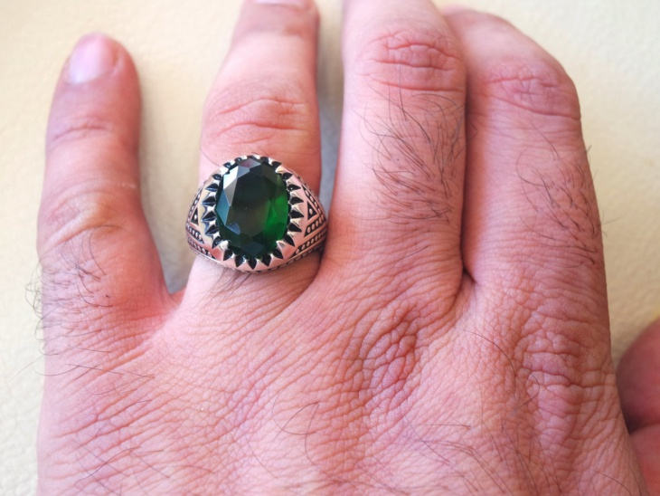 Oval Emerald Ring Design for Men