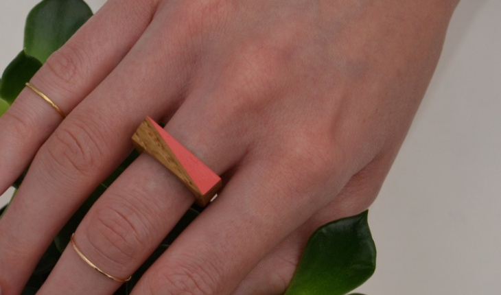 triangle coral ring design for men