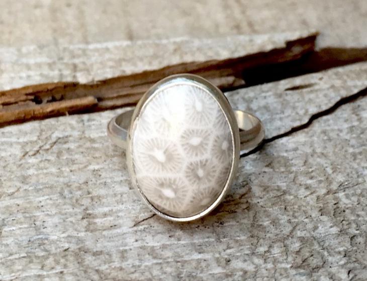 Mens White Coral Ring Design