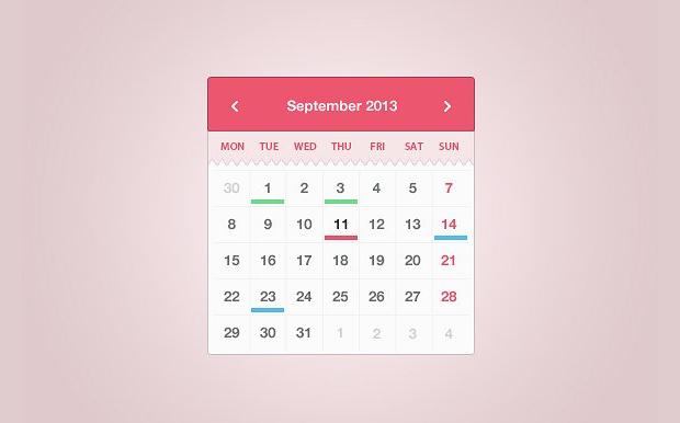 month calendar widgets