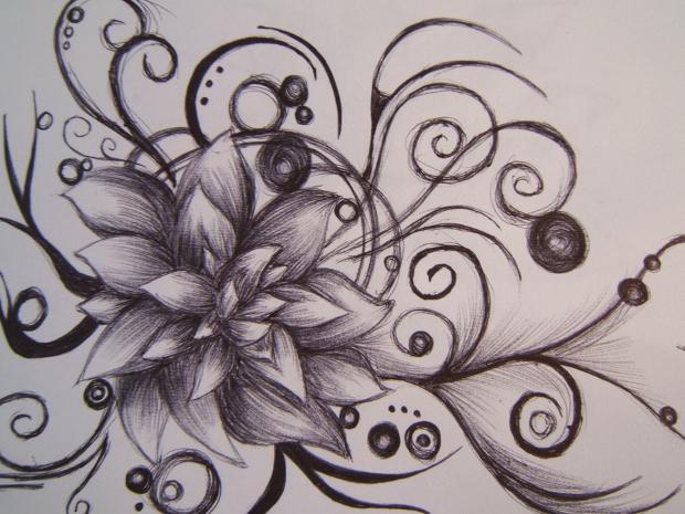 lotus flower pencil drawing