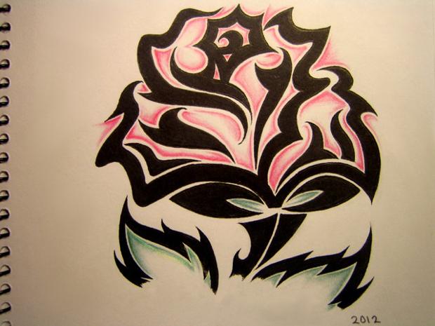 tribal rose flower drawing