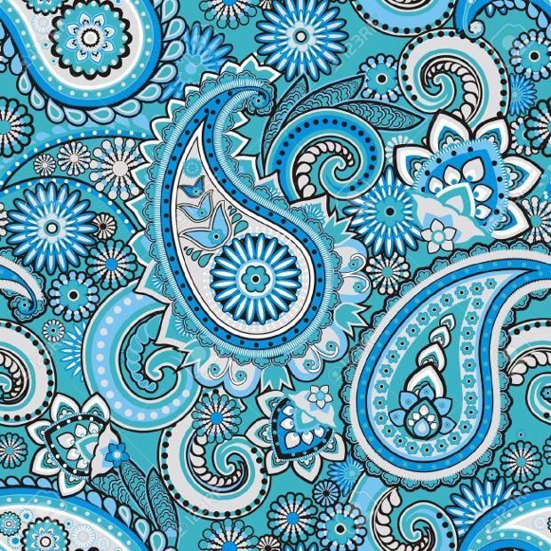 blue paisley pattern design