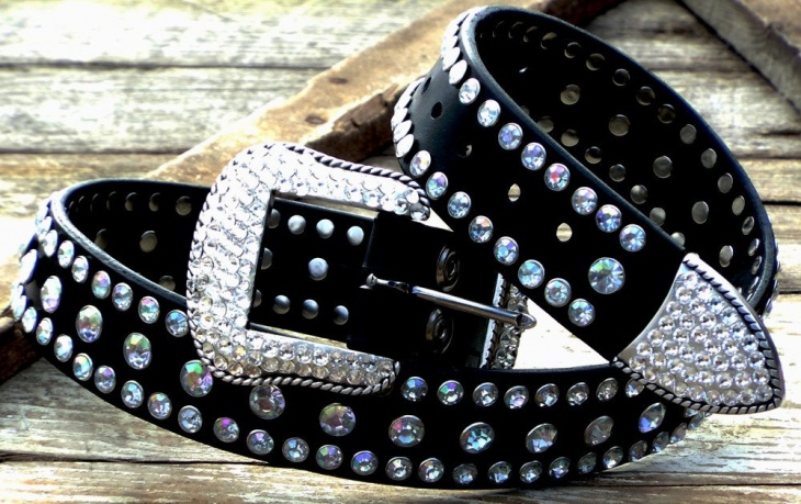 Black Rhinestone Belts