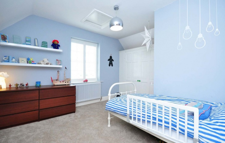 sky blue kids bed orb light idea