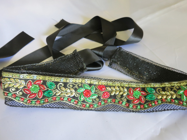 Leather Black Rhinestone Belt