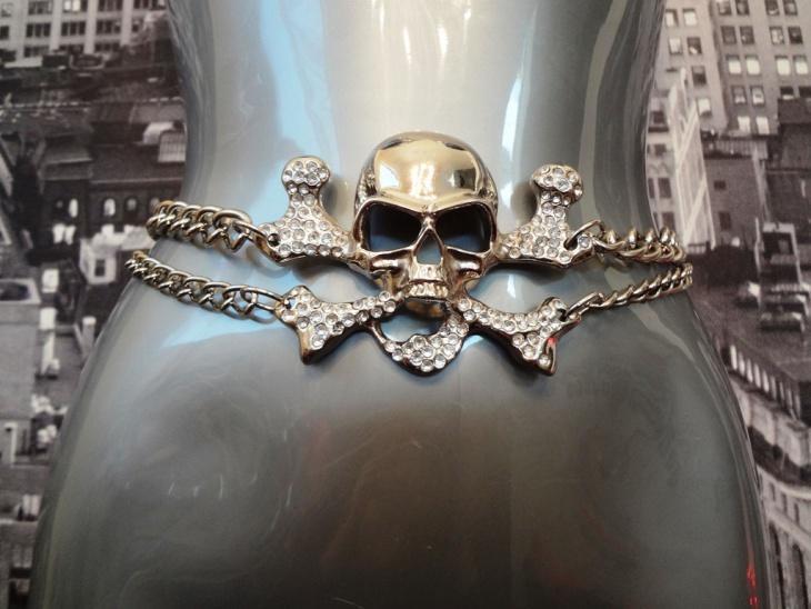 skull rhinestone belt