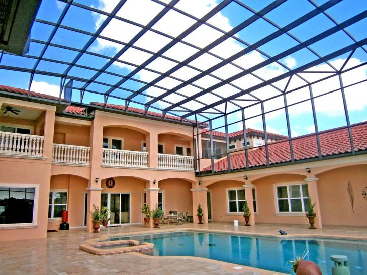 outdoor glass roof design