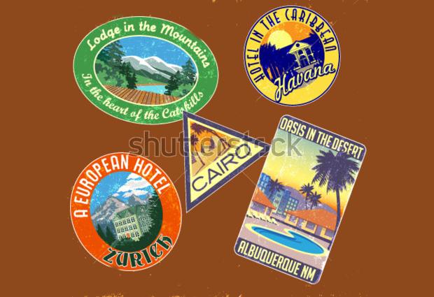 vintage travel sticker designs