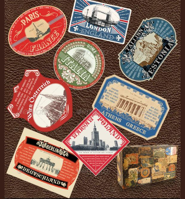 vintage luggage sticker design